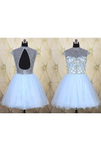 High Neck Cap Sleeve Open Back Short Mini Light Blue Tulle Beaded Tutu Prom Dress