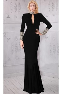 High Neck Collar Front Cutout Long Sleeve Black Jersey Beaded Evening Dress