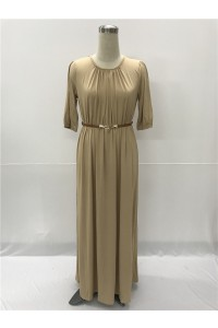 Jewel Neckline Long Khaki Jersey Sleeve Fall Summer Dress With Belt