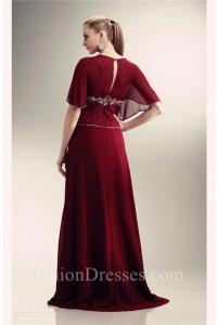 Long Burgundy Chiffon Beaded Mother Of The Bride Evening Dress With Sleeves