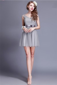 Lovely A Line Cap Sleeve Short Grey Tulle Party Bridesmaid Dress With Bow Sash