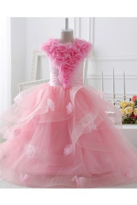 Lovely Ball Gown Pink Tulle Ruffle Flower Girl Party Prom Dress