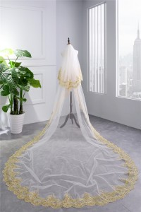 Luxury Two tier White Tulle Gold Lace Sequined Wedding Bridal Cathedral Veil