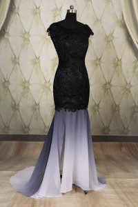 Mermaid Backless Cap Sleeeve Black And White Ombre Chiffon Lace Evening Dress