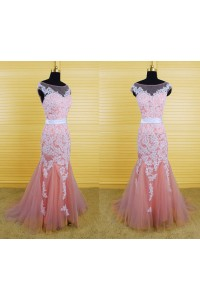 Mermaid Bateau Illusion Neckline V Back Pink Tulle White Lace Prom Dress
