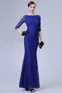 Mermaid Bateau Neckline Backless Royal Blue Lace Special Occasion Evening Dress With Sleeves