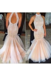 Mermaid High Neck Keyhole Back Champagne Satin Tulle Beaded Prom Dress