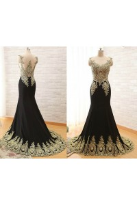 Mermaid Illusion Neckline Black Satin Gold Lace Applique Evening Prom Dress