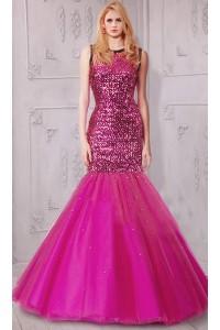 Mermaid Jewel Neckline Full Back Sleeveless Hot Pink Tulle Sequin Prom Dress
