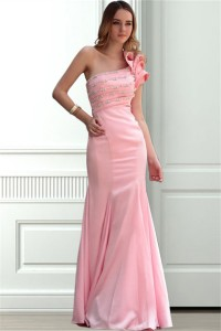 Mermaid One Shoulder Light Pink Taffeta Beaded Formal Occasion Evening Dress