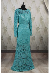 Mermaid Scoop Neck Backless Long Sleeve Teal Lace Evening Prom Dress