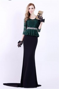 Mermaid Scoop Neck Black Satin Dark Green Lace Peplum Evening Dress With Sleeves