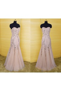 Mermaid Sweetheart Gold Tulle Lace Beaded Prom Dress