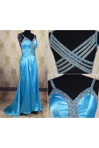 Mermaid Sweetheart Long Blue Charmeuse Beaded Prom Dress With Straps