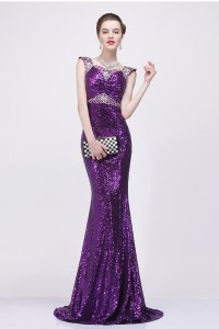Mermaid Sweetheart Purple Sequin Beaded Evening Prom Dress With Cap Sleeves Straps