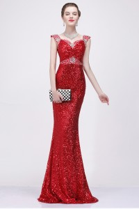 Mermaid Sweetheart Red Sequin Beaded Sparkly Evening Prom Dress With Straps