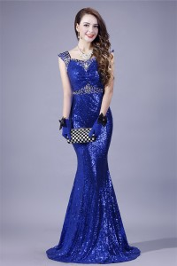 Mermaid Sweetheart Royal Blue Sequin Beaded Evening Prom Dress With Straps