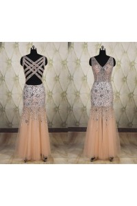 Mermaid V Neck Nude Tulle Beaded Prom Dress With Straps