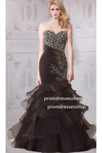Mermiad Sweetheart Black Organza Ruffle Layered Prom Dress With Beading