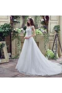 Modest A Line V Neck Tulle Lace Applique Wedding Dress With Crystals Sash