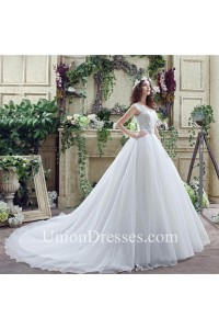 Modest Ball Gown Scalloped Neck Cap Sleeve Organza Lace Wedding Dress Chapel Train