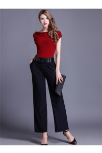 Modest Cap Sleeve Black And Burgundy Jersey Evening Jumpsuit With Pockets