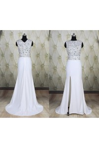 Modest Mermaid High Neck Long White Chiffon Beaded Prom Dress With Slit