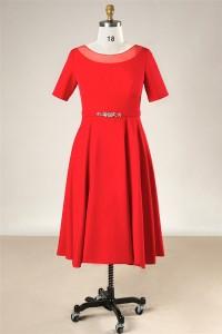 Modest Scoop Neck Short Sleeve Red Satin Plus Size Evening Dress Crystals Bow Belt
