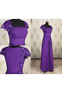 Modest Sheath Square Neck Cap Sleeve Long Purple Chiffon Lace Beaded Evening Dress