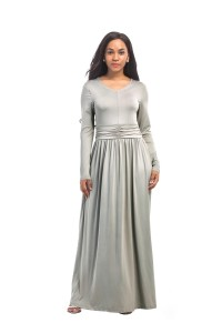 Modest V Neck Long Sleeve Silver Jersey Spring Fall Dress