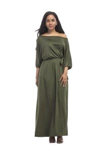 Off The Shoulder Maxi Length Olive Green Jersey Dress With Sleeves Sash