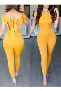 Off The Shoulder Open Back Bodycon Rompers Women Jumpsuit With Bow