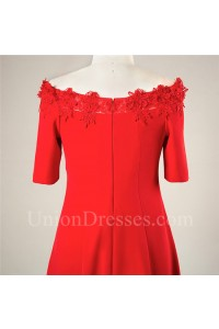 Off The Shoulder Red Lace Satin Plus Size Party Prom Dress With Sleeves
