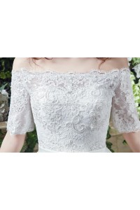 Lace Sleeves Wedding Dress With Bow Belt