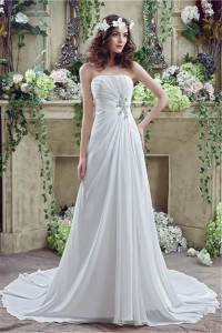 Princess A Line Strapless Draped Chiffon Destination Beach Summer Wedding Dress