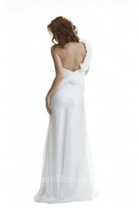 Princess One Shoulder Open Back White Chiffon Ruched Beach Wedding Dress