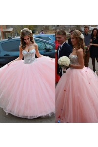 Puffy Ball Gown Strapless Sweetheart Light Pink Tulle Beaded Prom Dress Corset Back