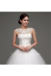 Puffy Ball Gown Sweetheart Drop Waist Tulle Lace Wedding Dress Corset Back