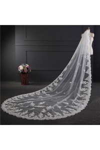 Royal One tier Tulle Lace Wedding Bridal Cathedral Veil