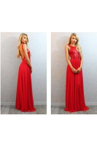 Sexy A Line Bateau Neck Backless Long Red Chiffon Sequined Prom Dress