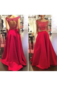 Sexy A Line Off The Shoulder Two Piece Red Taffeta Beaded Prom Dress Open Back