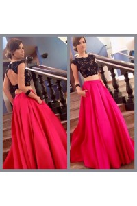 Sexy A Line Open Back Two Piece Hot Pink Taffeta Black Lace Prom Dress
