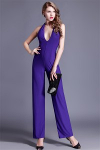 Sexy Deep V Neck Backless Purple Jersey Special Occasion Evening Jumpsuit