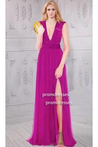 Sexy Deep V Neck High Slit Long Fuchsia Chiffon Evening Prom Dress