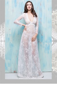 Sexy Deep V Neck Long Sleeve Sheer See Through White Lace Special Occasion Evening Dress
