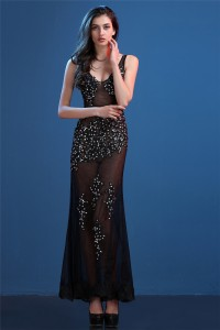 Sexy Fitted V Neck Sheer See Through Black Tulle Lace Beaded Special Occsaion Prom Dress