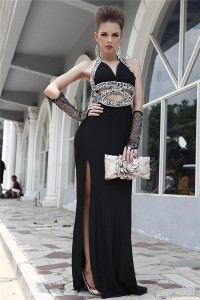 Sexy Front Cut Out Backless High Slit Black Jersey Beaded Evening Prom Dress