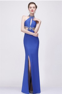 Sexy Front Cut Out Backless High Slit Royal Blue Chiffon Beaded Evening Prom Dress