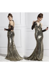 Sexy Front Cut Out Keyhole Backless Silver Sequin Sparkly Evening Prom Dress
