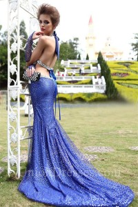 Sexy Halter Cut Out Backless Royal Blue Tulle Sequin Evening Dress With Train